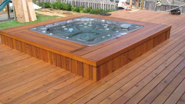 Deck around                 hot tub.